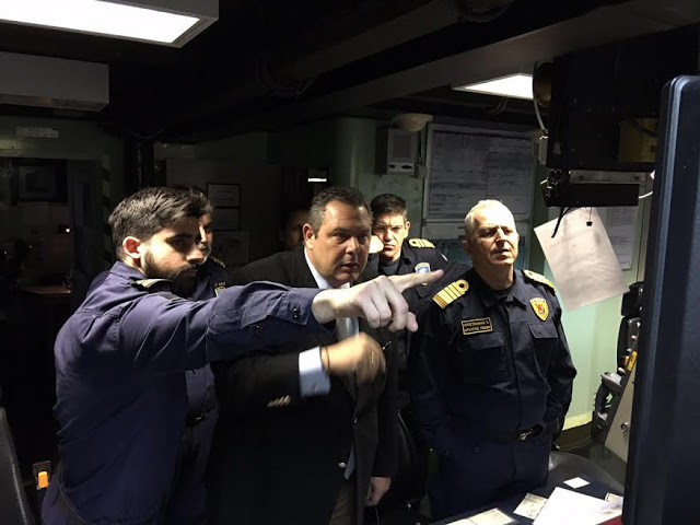 Επίσκεψη ΥΕΘΑ Πάνου Καμμένου στη Φρεγάτα «ΛΗΜΝΟΣ» που εκτελεί καθήκοντα πλοίου επιχείρησης φυλακής σκοπούντος - Φωτογραφία 1