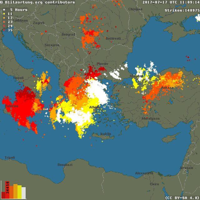 Απίστευτο: Δείτε πόσοι κεραυνοί χτύπησαν την Ελλάδα σε λίγες ώρες [χάρτης] - Φωτογραφία 2