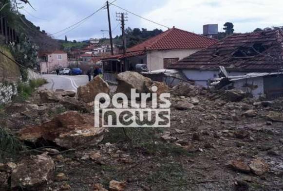 Ηλεία: Σοβαρές κατολισθήσεις από την κακοκαιρία στο Λέπρεο – Ολόκληροι βράχοι αποκολλήθηκαν και κατέστρεψαν σπίτι (ΦΩΤΟ) - Φωτογραφία 1