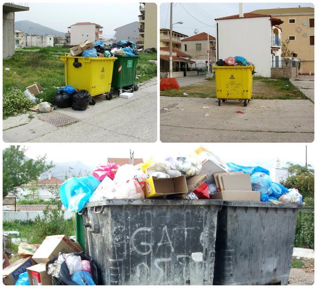 Αμάζευτοι πολλοί κάδοι με σκουπίδια στον Μύτικα. - Φωτογραφία 1