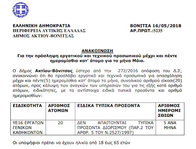 Πρόσληψη 20 ατόμων για 5 μεροκάματα στο Δήμο ΑΚΤΙΟΥ ΒΟΝΙΤΣΑΣ - Φωτογραφία 1