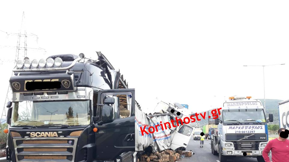 Σοβαρό τροχαίο ατύχημα νταλίκες στην Εθνική Οδό Αθηνών-Κορίνθου - Φωτογραφία 1