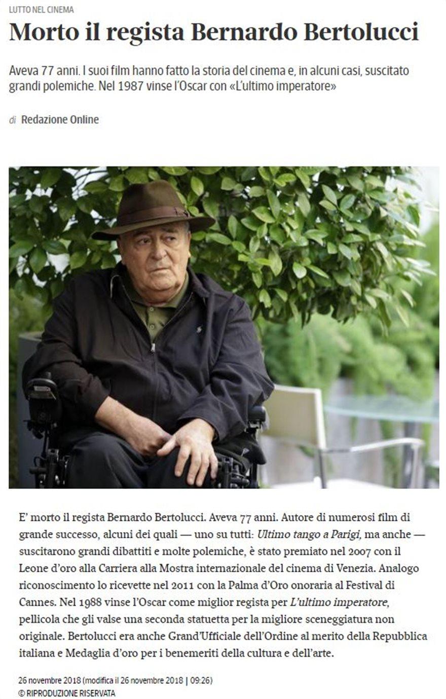 Πέθανε ο σπουδαίος σκηνοθέτης Μπερνάρντο Μπερτολούτσι - Φωτογραφία 6