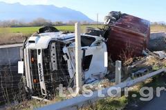 Φωτος: Ο οδηγός της νταλίκας είχε τύχη βουνό