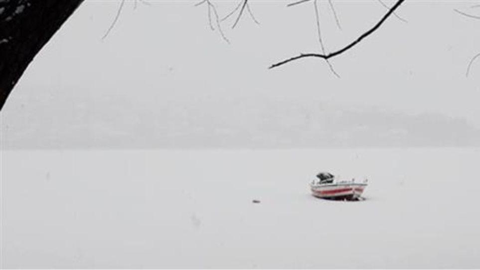 Πάγωσε η λίμνη της Καστοριάς - Φωτογραφία 1