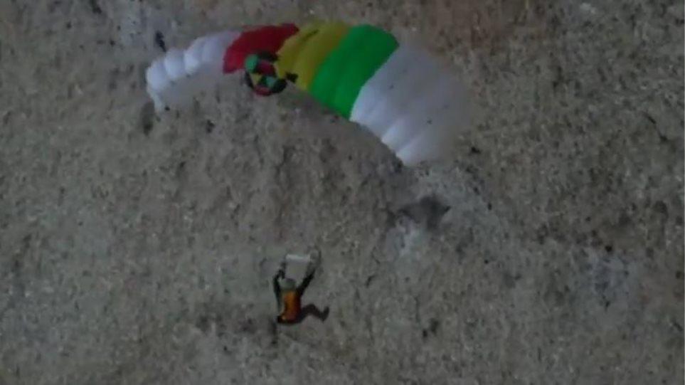 Γάλλος αλεξιπτωτιστής έσπασε το πόδι του σε βράχο μετά από άλμα - Το βίντεο σοκάρει - Φωτογραφία 1