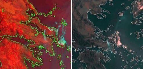 Η μεγάλη φωτιά στην Εύβοια όπως την καταγράφει ο δορυφόρος - Φωτογραφία 1