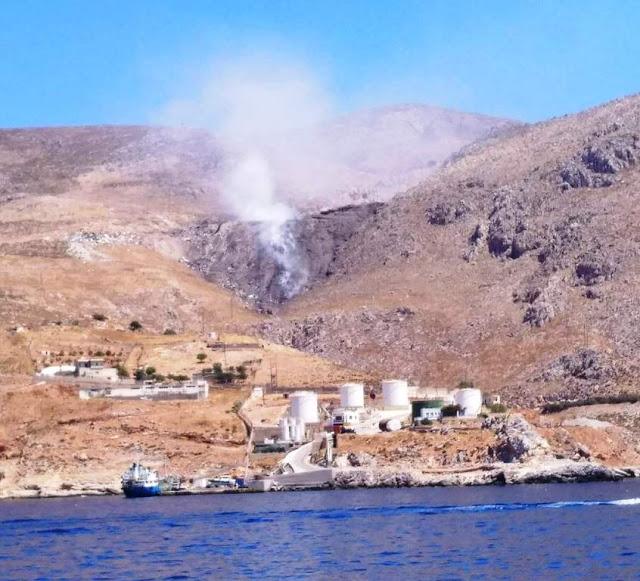 Δεν είναι ηφαίστειο... είναι καύση σκουπιδιών σε χωματερή  της Καλύμνου! - Φωτογραφία 1