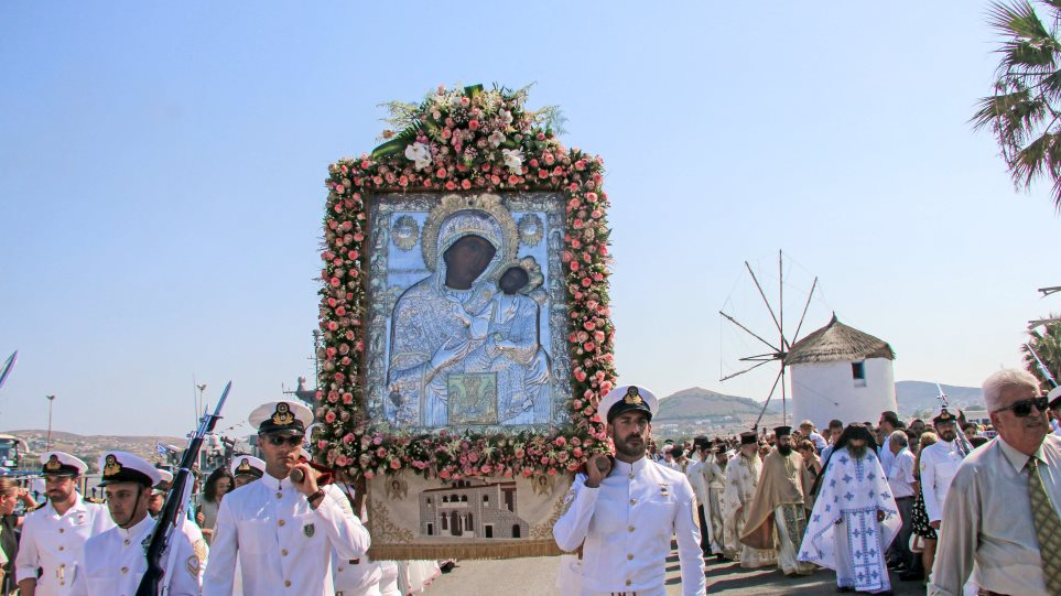 Με λαμπρότητα ο εορτασμός της Κοίμησης της Θεοτόκου στην Παναγία την Εκατονταπυλιανή - Φωτογραφία 1