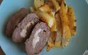 Ρολό κιμά γεμιστό με πατάτες φούρνου