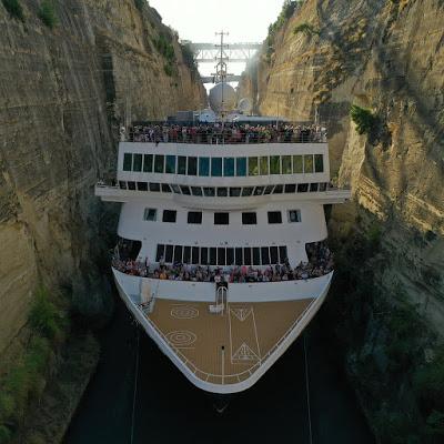 Κρουαζιερόπλοιο 195 μέτρων πέρασε από τον Ισθμό της Κορίνθου! (pics) - Φωτογραφία 1