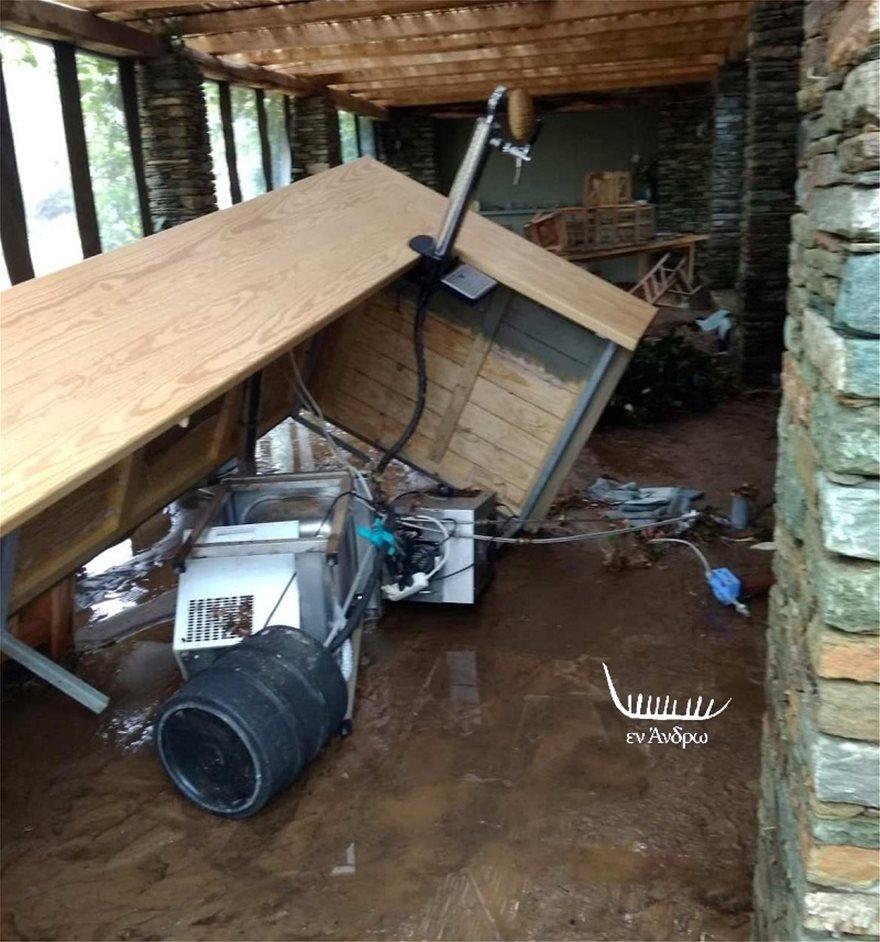 Μενεγάκη- Παντζόπουλος: Εικόνες καταστροφής στην ξενοδοχειακή μονάδα τους στην Άνδρο - Φωτογραφία 3