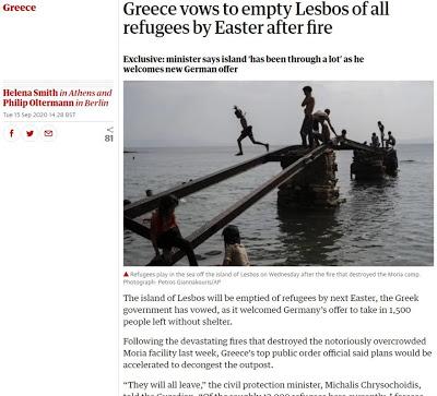 Χρυσοχοΐδης στον Guardian: Η Λέσβος θα έχει αδειάσει από μετανάστες μέχρι το Πάσχα - Φωτογραφία 1