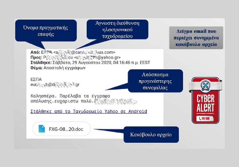 Διεύθυνση Δίωξης Ηλεκτρονικού Εγκλήματος ενημερώνει τους πολίτες για διασπορά κακόβουλου λογισμικού μέσω emails - Φωτογραφία 1