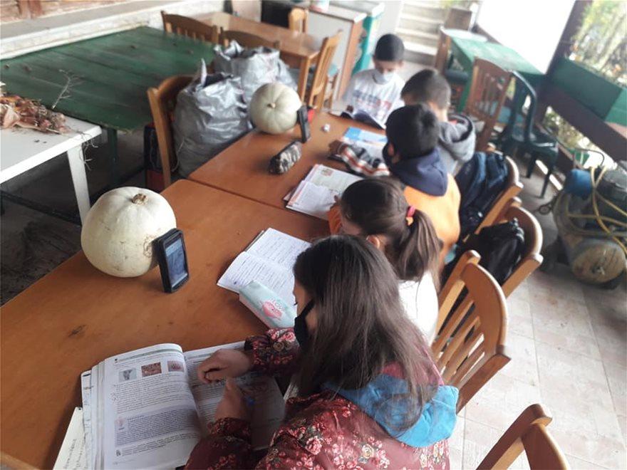 Μαθητές κάνουν τηλεκπαίδευση με μπουφάν και κινητό σε καφενείο - Φωτογραφία 2
