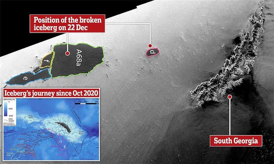 Απίστευτο θέαμα στον Νότιο Ατλαντικό: Γιγαντιαίο παγόβουνο σπάει σε κομμάτια - Φωτογραφία 6
