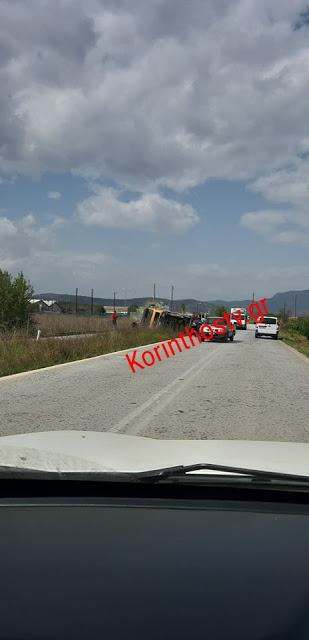 Φορτηγό ντελαπάρισε στις ράγες στην παλιά εθνική Κορίνθου – Άργους. - Φωτογραφία 2