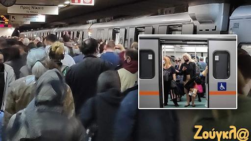 Συνωστισμός στον σταθμό του μετρό Συντάγματος χθες. - Φωτογραφία 1