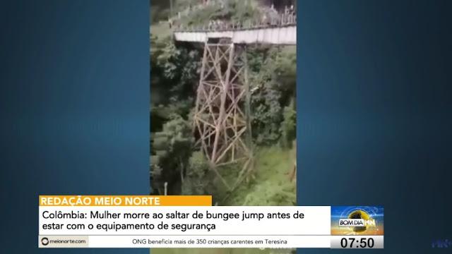 Σοκάρει η στιγμή που πέφτει η κοπέλα από το bunjee jumping στην Κολομβία (Video)