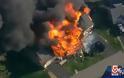 Τηλεοπτικά συνεργεία κατέγραψαν έκρηξη από φλεγόμενο σπίτι - Νεκρός αστυνομικός από πυρά [video]