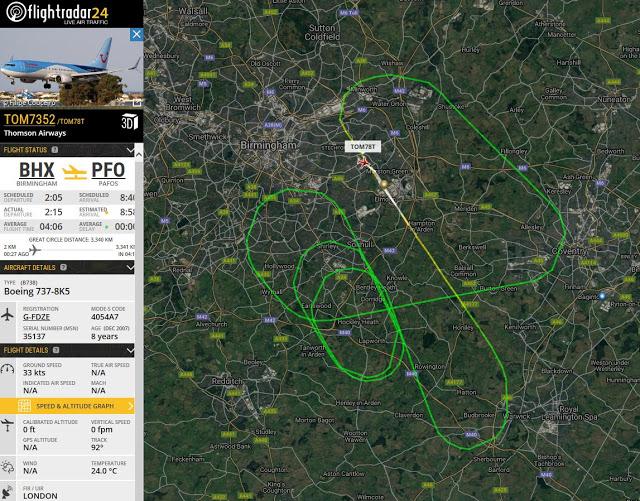 Πτήση Μπέρμιγχαμ- Πάφος: Σύγκρουση με πτηνό - Δείτε την πορεία πανικού που ακολούθησε το αεροσκάφος - Φωτογραφία 2